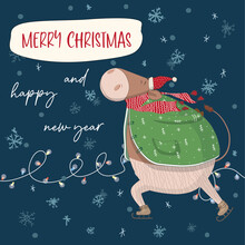 Christmas Card With Bull On Ice Skates. Happy New Year And Merry Christmas Greeting Cards. Banner, Poster,stickers, Prints And Home Interior Decor.Templates For The Holiday.Social Media Post.Xmas