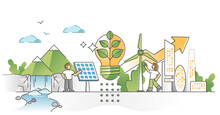 Green Alternative Energy Consumption As Solar, Wind Resources Outline Concept