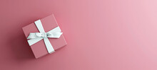 Mock-up Poster, Rose Pink Gift Box With White Bow On Pink Background, 3D Render, 3D Illustration