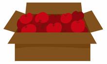 Lots Of Delicious Looking Red Apples In Brown Cardboard