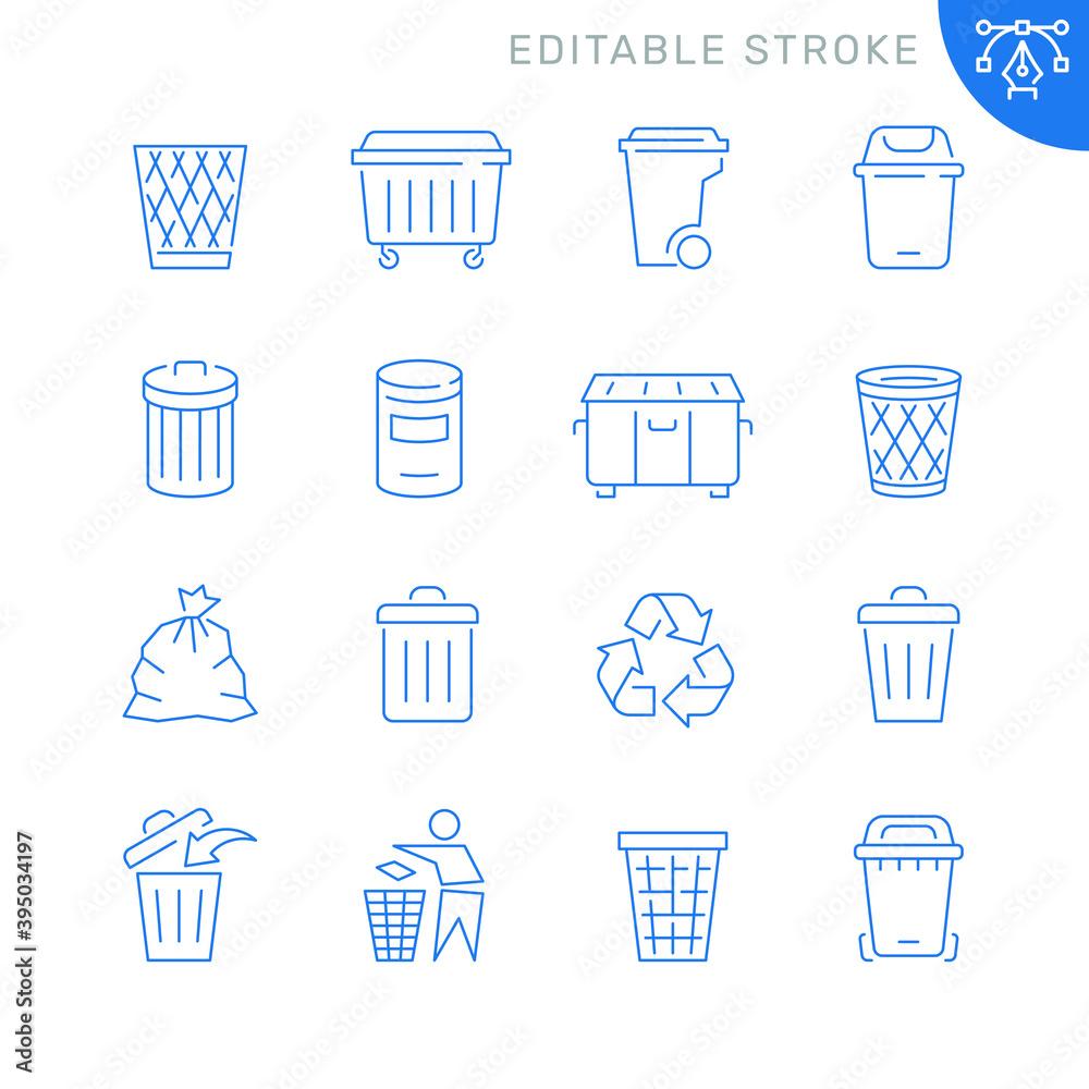 Fototapeta Trash can related icons. Editable stroke. Thin vector icon set
