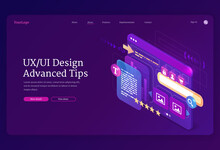 Ui Ux Design Advanced Tips Isometric Landing Page. User Experience, Adaptive Interface Mobile Phone Layouts, Website Platform On Screen. Gadget Software Application Development, 3d Vector Web Banner