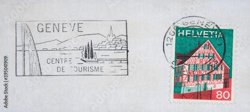 Fotografia, Obraz briefmarke stamp vintage retro alt old frankiert cancel gestempelt slogan werbun