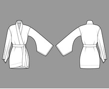 Kimono Robe Technical Fashion Illustration With Long Wide Sleeve, Belt To Cinch The Waist, Above-the-knee Length. Flat Apparel Blouse Template Front Back White Color. Women Men Unisex CAD Shirt Mockup