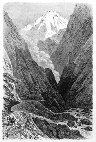 Canvas Print dark Darial gorge among high steep mountains, on the border between Russia and Georgia