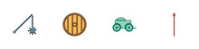 Set Medieval Chained Mace Ball, Round Wooden Shield, Wooden Four-wheel Cart And Spear Icon. Vector.