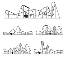 Roller Coaster Various Route Set. Amusement Rides Collection. Railroad Tracks With Tight Turns.