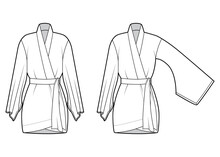 Set Of Kimono Robe Technical Fashion Illustration With Long Wide Sleeves, Belt To Cinch The Waist, Above-the-knee Length. Flat Blouse Template Front, White Color. Women Men Unisex CAD Shirt Mockup