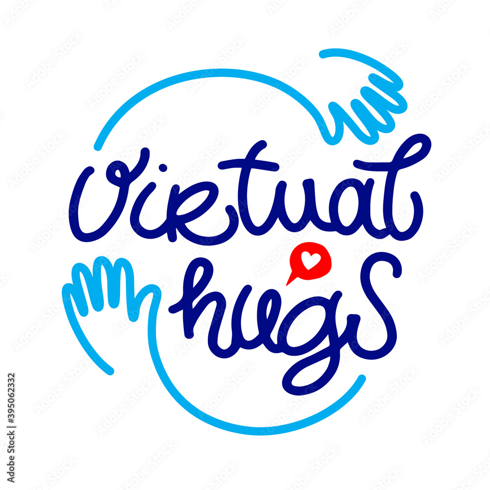 Fotografia Virtual hugs line icon, calligraphy with hands