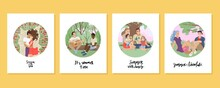 Card Design Summer. Summer Holidays With Friends, Family Picnic, Boyfriend And Girlfriend Date, Lovers With Flowers. Summer Activity. Vector Illustration.