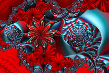 3D Fractal Illustration. Fractal Flowers In A Colorful Multi-color Tone.