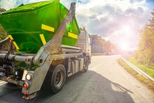 Truck On The Road, Urban Recycling Waste And Garbage Services  ,