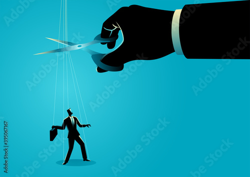 Scissors cutting the strings attached to businessman Fototapet