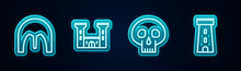 Set Line Medieval Iron Helmet, Castle, Skull And Tower. Glowing Neon Icon. Vector.