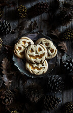 High Angle View Of Halloween Cookies In Plate On Table