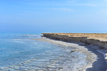 Texture Of Dead Sea. Salty Sea Shore Background. Salt Accumulation On The Dead Sea Shore In Jordan