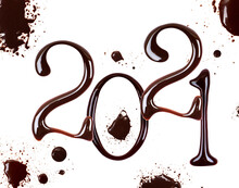 Date Of The New Year 2021 Made Of Chocolate With Blots, Isolated On White Background