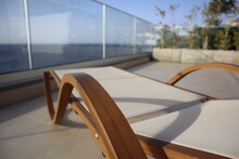 Design Wooden Sun Lounger With A View On The Atlantic Ocean, At Madeira