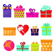Isolated Gifts Item Set, Vector. Bright And Colorful Boxes Of Different Sizes. Various Colors And Prints