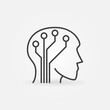 Human Head with Circuit Board vector concept icon or symbol in thin line style