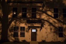 A White House At Night In The Dark Creepy Scary