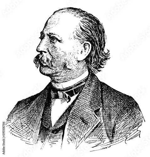 Canvas Print Portrait of Theodor Fontane - a German novelist and poet