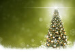 Golden Christmas tree balls , abstract Green background snow