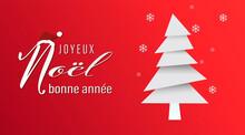 Carte Ou Bandeau Sur Joyeux Noël Et Bonne Année En Blanc  Avec Le Bonnet Du Père Noël à Cöté Un Sapin Blanc Et Gris  Sur Un Fond Rouge En Dégradé Avec Des Flocons De Neige