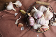 Fresh Organic Garlic On Table, Flat Lay