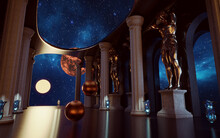 3D Rendering Scene With Sci-fi Place In Ancient Greek Style Statue And Column In Star Ship Hall