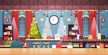 Empty No People Santa Claus Christmas Factory With Gifts On Machinery Line Happy New Year Winter Holidays Celebration Concept Horizontal Vector Illustration