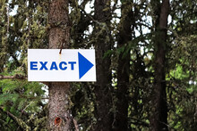A Blue Exact Sign With A Arrow Pointing Right