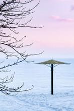 Lonely Beach Umbrella In A Sno...