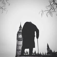 Statue Of Winston Churchill With Big Ben