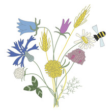 Bouquet Of Wildflowers Or Meadow Flowers. Naive Childish Style.