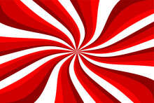 Red White Summer Spiral Ray Pattern Background. Ray Star Burst Background. Retro Red And White Spiral Sunburst.Red White Swirl Abstract Vortex Background. Psychedelic Wallpaper. Vector Illustration