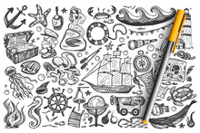 Pirates Doodle Set. Collection Of Sea Ocean Symbols Treasure Map Gold Chest Ship Mermaid Whale Rum Sailor Isolated On White Background. Corsairs Free Marine Life Illustration.