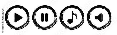 Obraz na plátně Grunge play music vector icon.