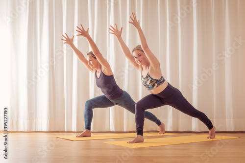Fototapeta premium two women doing yoga at home
