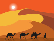 Lonely Arabic Man With Camels On Sand Dunes