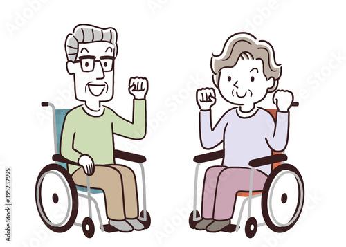 Fototapeta ベクターイラスト素材:車椅子に乗るシニア男性とシニア女性、やる気  obraz