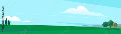 Obraz na płótnie Paesaggio della pianura con degli alberi e cielo azzurro