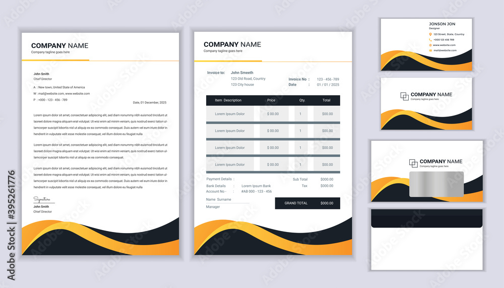Fototapeta Corporate identity template. Stationery template design with letterhead template, invoice, envelope and business card.