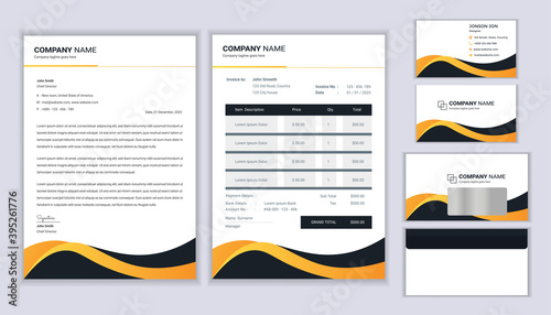 Fototapeta Corporate identity template. Stationery template design with letterhead template, invoice, envelope and business card. obraz