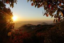 早朝登山で日の出を見る (秋/紅葉)