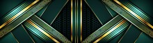 Elegant Dark Green Background Combine With Golden Overlap Layer