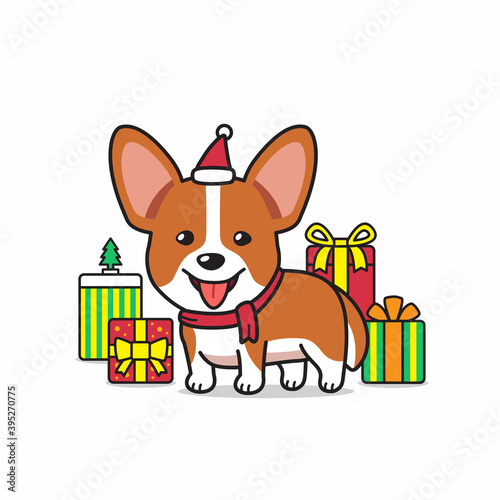 Tablou Canvas Vector cartoon character corgi dog with gifts for design.