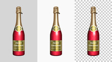Red Champagne Bottle With Gold Labels Merry Christmas And Happy New Year 2021. Isolated Realistic Sparkling Wine Bottle With Preview On Gray, White And Checkered Background