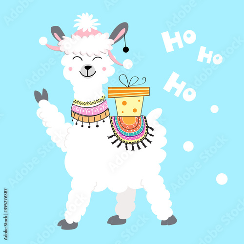 Fototapeta premium Christmas card with a llama and a gift on a blue background. Vector illustration