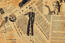Paris, France – November 20, 2020: Collage Of French Newspaper Headlines, Draws And Articles In 1930s - French Atmosphere Theme.